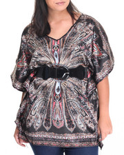 Fashion Tops - Abstract Print Kimono Top (Plus)