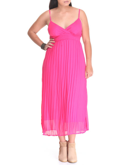 She's Cool - Women Pink Pleated Chiffon Maxi (Plus)
