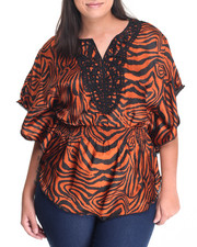 Fashion Tops - Crochet Neckline Zebra Kimono Top (Plus)