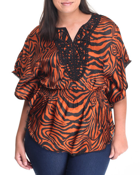 Shes Cool Women Crochet Neckline Zebra Kimono Top (Plus) Animal Print 2X
