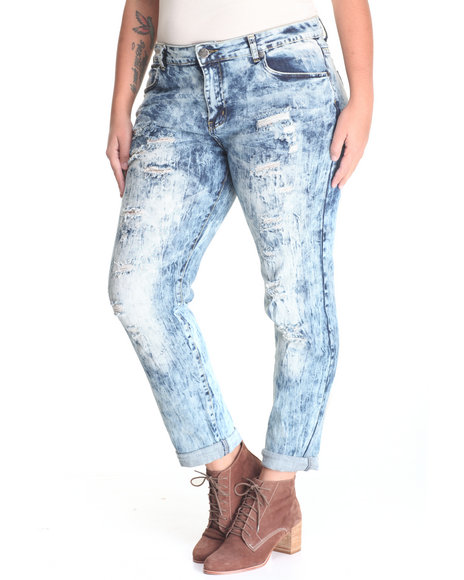 Basic Essentials - Women Vintage Wash He Loves Me Destructed Denim Jean (Plus)