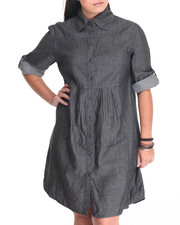 Plus Size - Denim Roll Sleeve Dress (Plus)