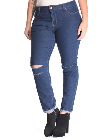 Basic Essentials - Women Dark Blue Skinny Knee Tear Jean  (Plus)
