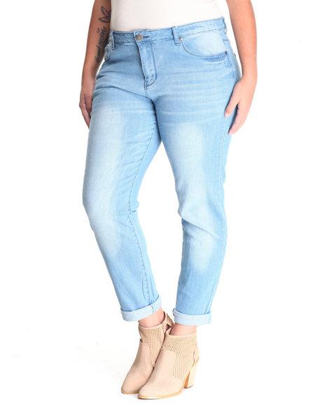 Basic Essentials - Women Light Blue Classic Clean Boyfriend Jean (Plus)