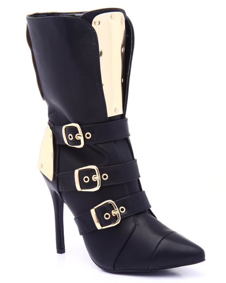 Fashion Lab - Women Black Rio Girl Gold Detail Buckle Heel Boot