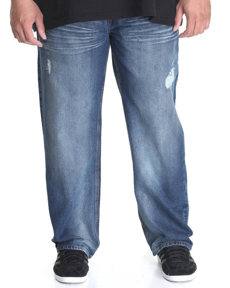 Akademiks - Men Medium Wash Arrowhead Denim Jean (B&T)