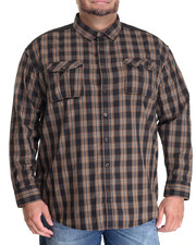 Men - FLIGHT DARK CHECK L/S BUTTON - DOWN (B&T)