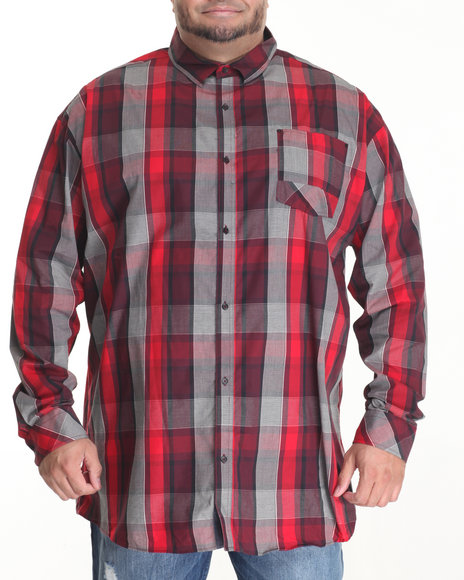 Sean John - Men Maroon Check L/S Button - Down W/ Pieced Bias Pocket (B&T)