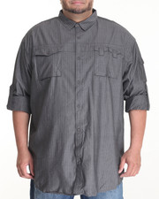 Men - FLIGHT HERRINGBONE L/S BUTTON - DOWN W/ CHEST PIECE (B&T)