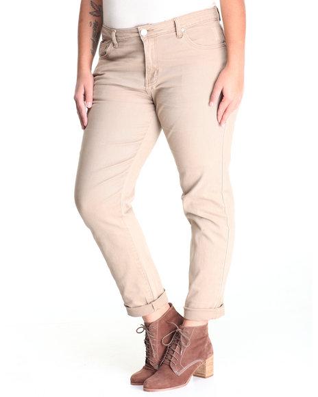 Basic Essentials - Women Khaki Twill Pants (Plus)