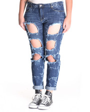 Bottoms - Splatter Tear Boyfriend Jean