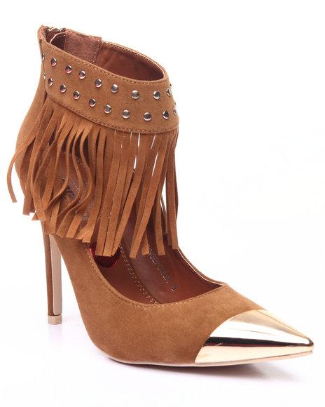 Fashion Lab - Women Tan Fringe Stud Ankle Pump