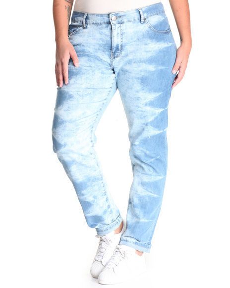 Basic Essentials - Women Light Wash Tie Dye Skinny Jean W/Butt Lift (Plus)