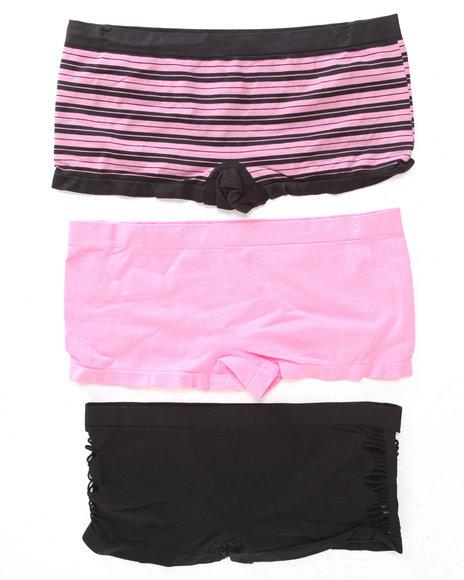 Drj Lingerie Shoppe Women Hottie CutOut Stripes 3Pk Seamless Shorts Pink 2X