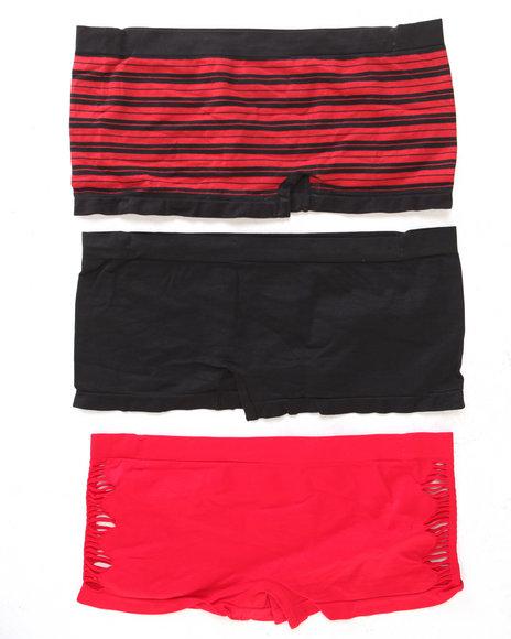 Drj Lingerie Shoppe Women Hottie CutOut Stripes 3Pk Seamless Shorts Red 2X