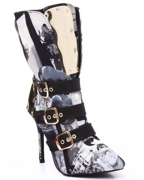 Fashion Lab - Women Black,White Rio Girl Gold Detail Buckle Heel Boot