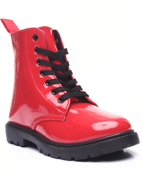 La Galleria - Girls Red Patent Combat Boots (11-4)