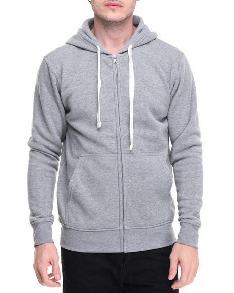Buyers Picks - Men Grey Classic Full Zip Fleece Hoody
