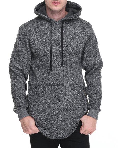 Buyers Picks - Men Black Marled Fleece Pullover W Side Zipper