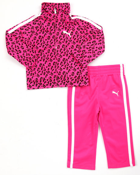Puma - Girls Pink Animal Print Tricot Track Set (Infant)
