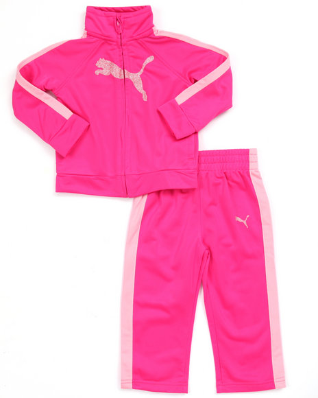 Puma - Girls Pink Collegiate Tricot Track Set (Infant)