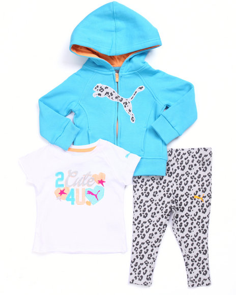 Puma - Girls Teal 3 Pc Set - Cat Hoody, Tee, & Pants (Infant)