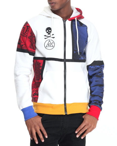 Rolling Paper - Men Off White Cartoon Full Zip Hoodie - $44.99