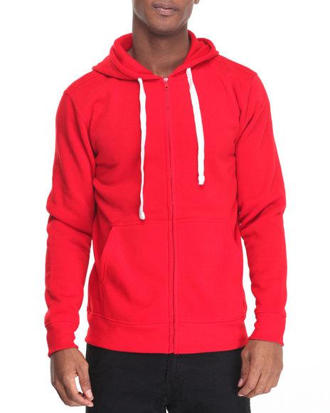 Buyers Picks - Men Red Classic Full Zip Fleece Hoody