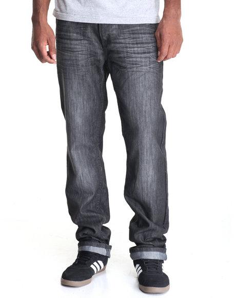 Basic Essentials - Men Charcoal Night Mercerized Flap - Pocket Denim Jeans