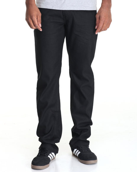 Basic Essentials - Men Black Point Cross - Hatch Coated Denim Jeans