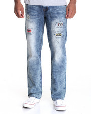 Jeans & Pants - Distrested Denim w Patch Detail