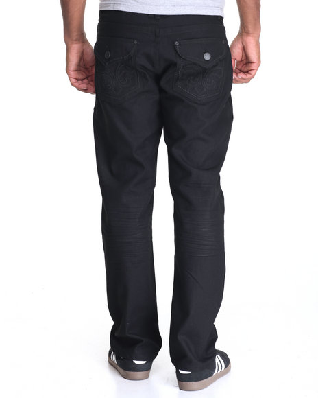 Basic Essentials - Men Black Point Fleur De Lys Flap - Pocket Coated Jeans