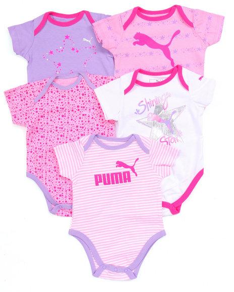 Puma - Girls Multi 5 Pack Bodysuits (Newborn)