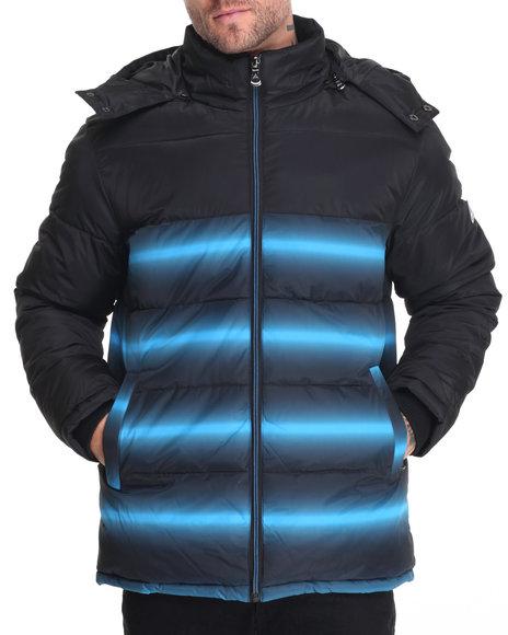 Buyers Picks Men Vortex Heavy 2-Tone Printed Bubble Jacket Blue Large