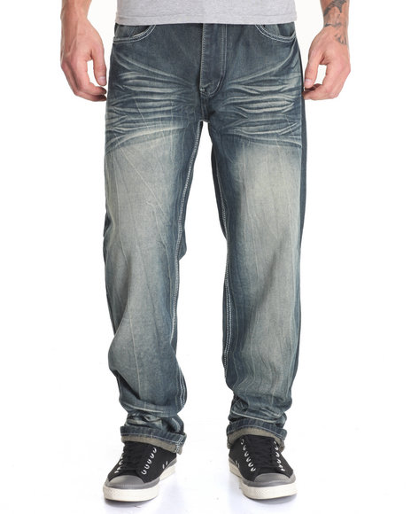 Basic Essentials - Men Vintage Wash Schism Flap - Pocket Denim Jeans