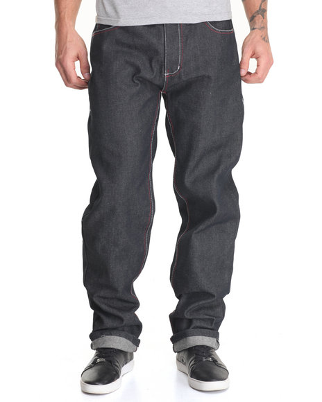 Basic Essentials - Men Black Belted Raw Denim Jeans