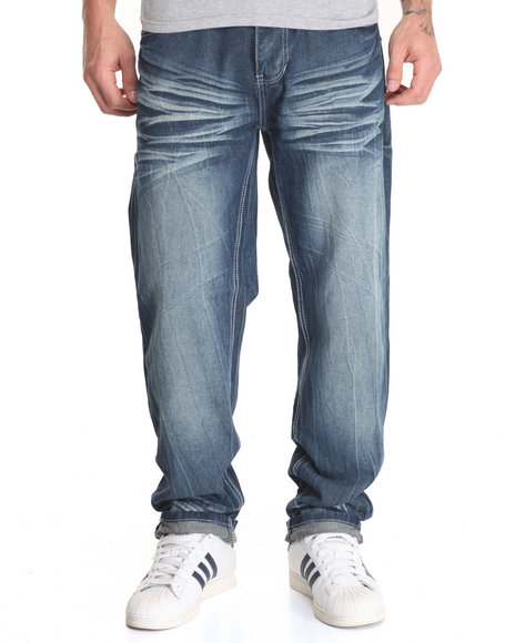 Basic Essentials - Men Dark Wash Ornate Flap - Pocket Denim Jeans