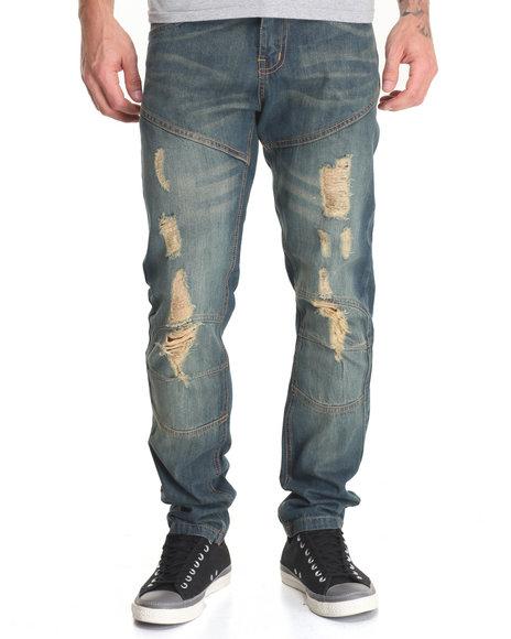 Rolling Paper - Men Dark Wash Patch Work Denim Jeans