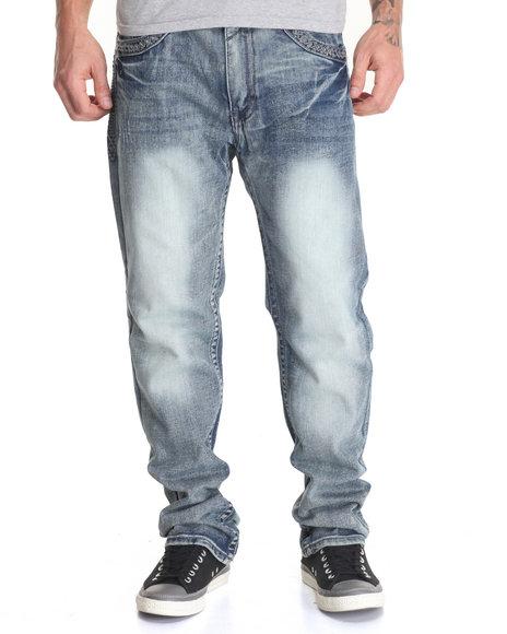 Basic Essentials - Men Dark Wash Thick - Stitch Flap - Pocket Denim Jeans