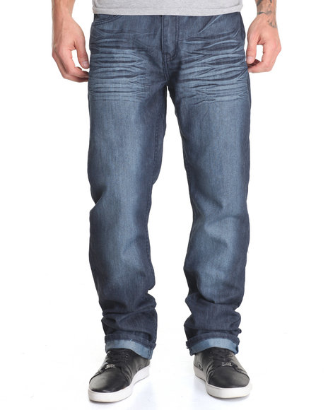 Basic Essentials - Men Dark Wash Night Mercerized Denim Jeans