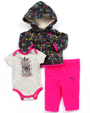 Girls - 3 PC SET - ALL OVER PRINT HOODY, BODYSUIT, & PANTS (NEWBORN)