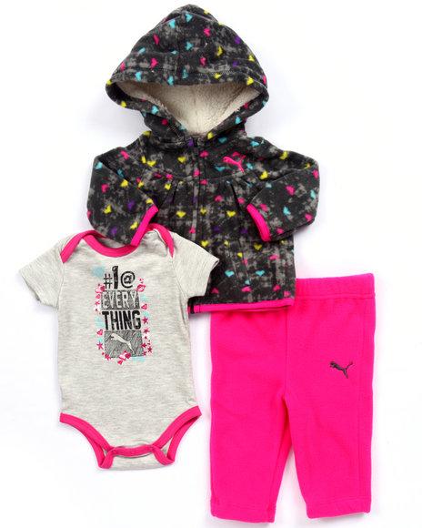Puma - Girls Pink 3 Pc Set - All Over Print Hoody, Bodysuit, & Pants (Newborn)