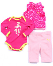 Girls - 3 PC SET - ANIMAL PRINT VEST, BODYSUIT, & PANT (NEWBORN)