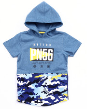 Boys - S/S FRENCH TERRY HOODED PULL OVER (4-7)