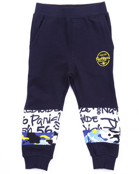 Parish - Boys Navy French Terry World Wide Sweat Pants (2T-4T)