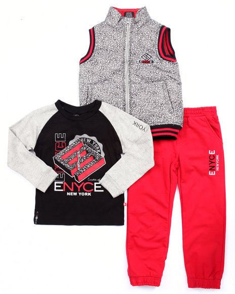 Enyce - Boys Black 3 Pc Set - Elephant Print Vest, Tee, & Jogger (4-7)