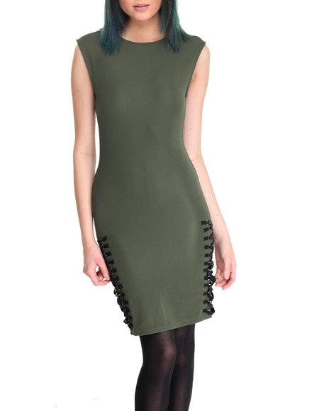 La Belle Roc - Women Olive Side Lace Me Dress