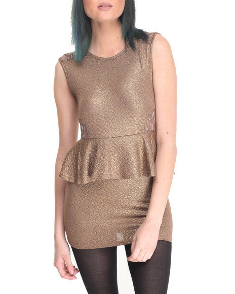 Fashion Lab - Women Gold Marla Peplum Dress - $16.99
