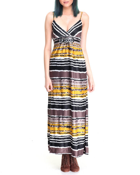 She's Cool - Women Yellow Stripe Print Empire Waist Maxi