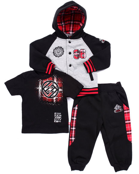 Enyce - Boys Black 3 Pc Set - Plaid Hoody, Tee, & Joggers Set (2T-4T)